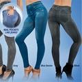 Inverno Leggings de Lã Quente Forrado Mulheres Populares Jean venda Quente Genie Magro Jeggings Para As Mulheres Da Moda Leggings With2 Bolsos Reais