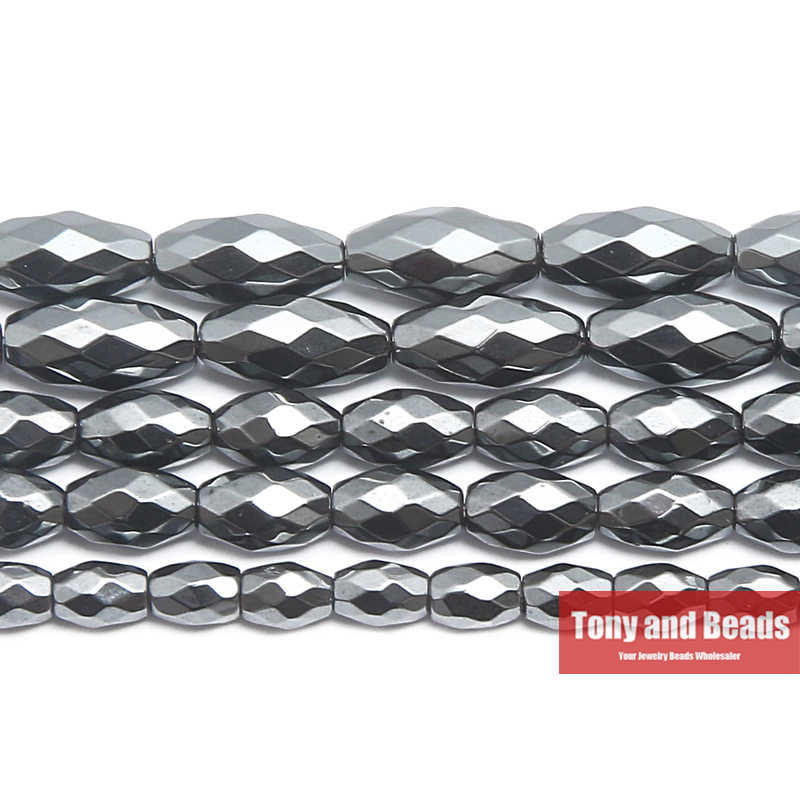 Faceted Rice Hematite Beads,Natural Hematite Beads,15 inches per strand