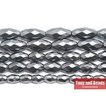 Pietra naturale senza forma di riso sfaccettata magnetica perline di ematite nera 4x6 5x8 6x12MM 15