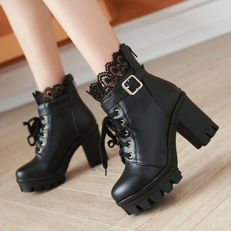 Image 4 - winter New pattern High heeled Coarse heel Martin boots Frenulum Waterproof Thick bottom Large code white Women Boots 34 43-in Ankle Boots from Shoes