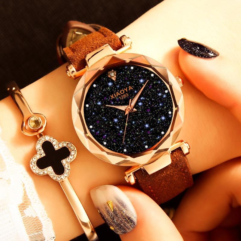Leather Starry Sky Women Wrist Watch 2019 Ladies Top Brand Luxury Watches Rose Gold Relogio Feminino Female Clock Reloj Mujer