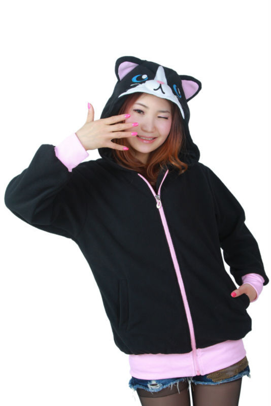 Süße schwarze Katze Tier Hoody Hoodie mit Ohren Unisex Winter warm - Damenbekleidung - Foto 2