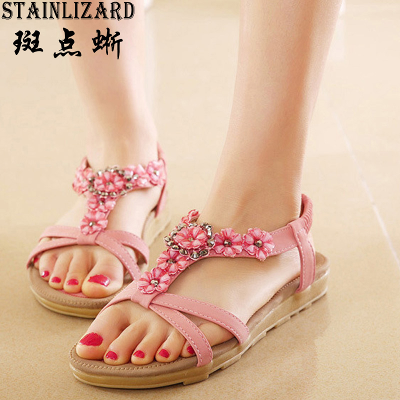 Free Shipping New Fashion Women Sandals 2017 Flower Crystal Summer Sandals Bohemia Casual Flat Woman Shoes ADT239 2016 spring and summer free shipping red new fashion design shoes african women print rt 3