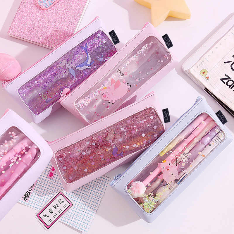 Yinan Pink Transparent Cartoon waterproof PU student pencil case school pencil cases for girl stationery canvas pencil bag