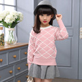 Fashion Autumn Winter Girls Plaid Sweater Children 's Warming Cotton Casual Clothes Kids All-Match Comfortable Slim Sweater Hot