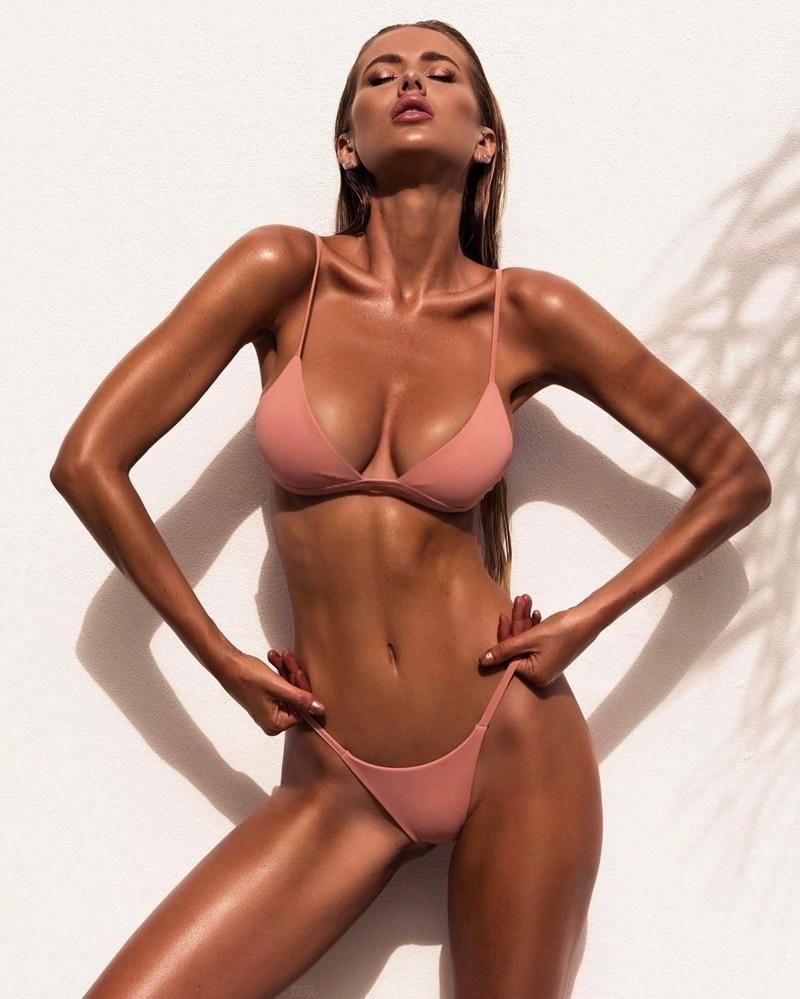 Sexy Thong Solid swimwear 2018 women Beach Bandage Bikini Set Push Up Bra Triangle Swimsuit Bathing Suit Brazilian Biqui jessica simpson women s totem x back full support triangle bra bikini