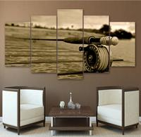 Wall Art Poster Home Decor Living Room Canvas Print Cartoon Painting 5 Panel Fishing Rod Landscape Animal Modular Pictures