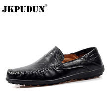 JKPUDUN Big Size Genuine Leather Mens Shoes Casual Luxury Brand Men Loafers  Designer Breathable Driving Shoes