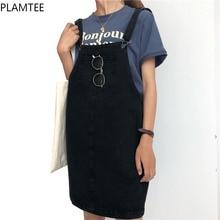PLAMTEE Vintage Women Straps Denim Dress with Pocket Solid Loose Waist Lady Summer Jeans Mini Vestidos Preppy Style
