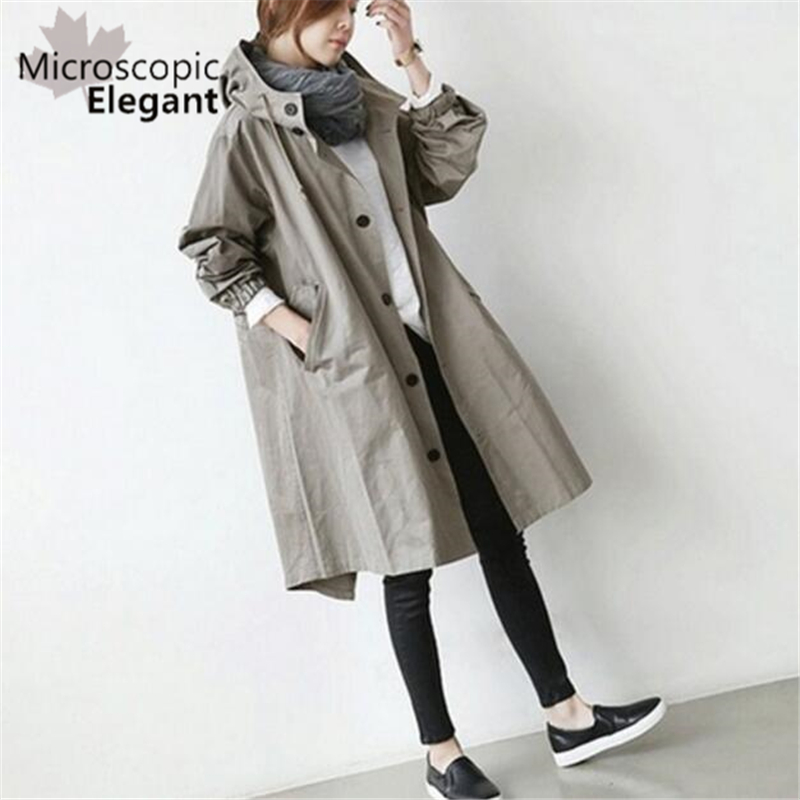 2018 Women   Trench   Hooded Coat Casual Long Sleeve Autumn Long Coat Single Breasted Windbreaker European Style Coat