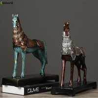 New Chinese style Imitation Bronze Warhorse Decoration Home Villa Bar Model Room Soft Decoration Antique Home Decor