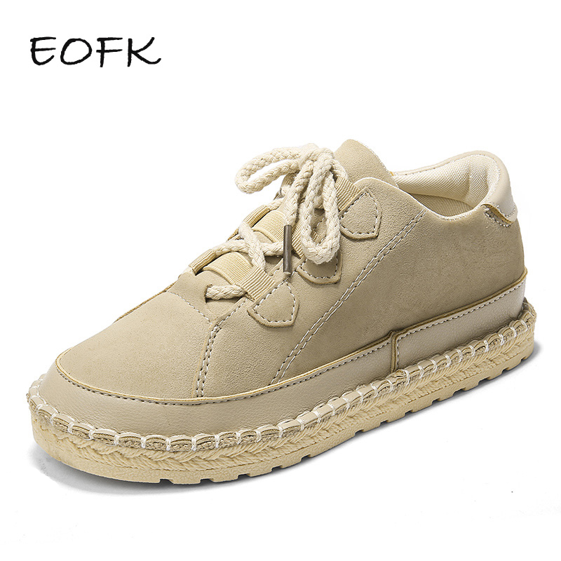 EOFK Women Flat Shoes Woman Flats Fashion Casual Spring Autumn Comfortable Lace up Handmade Ladies Shoes
