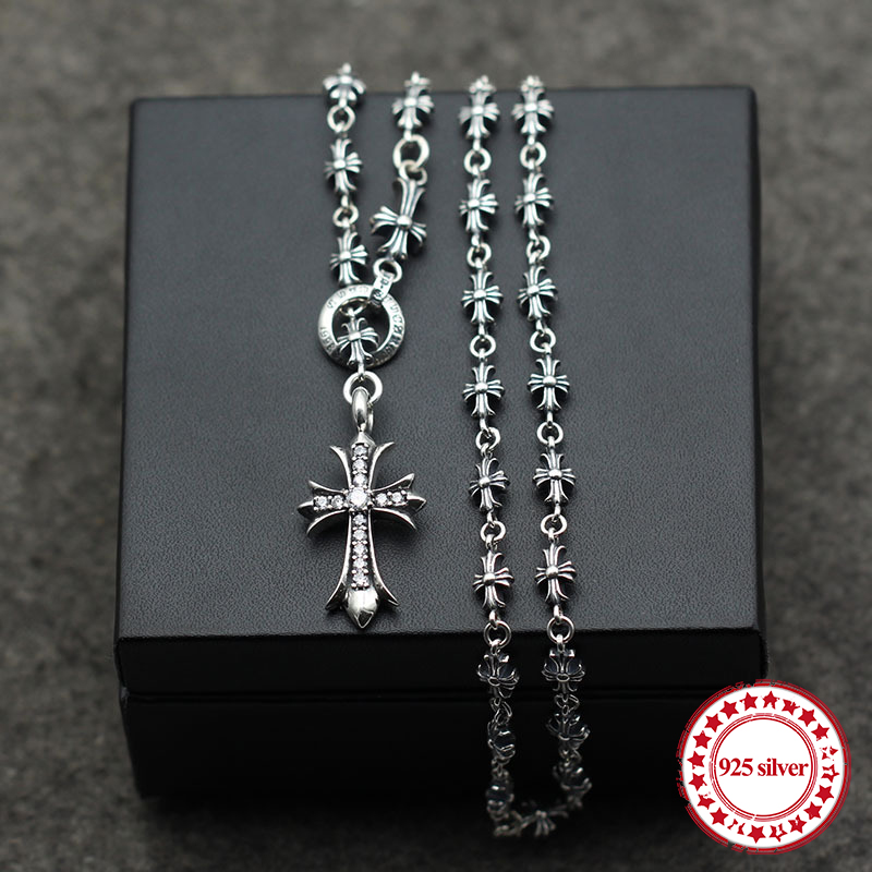 S925 sterling silver necklaces pendants retro personality classic fashion punk-style cross domineering necklace pendant gift punk style solid color cross pendant choker necklace for women