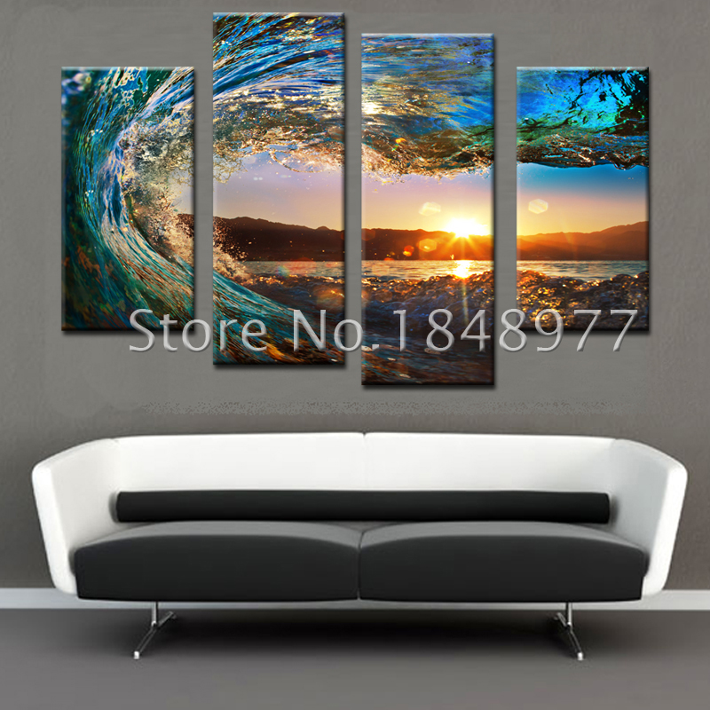 4 Piece Wall Art aliexpress : buy 4 piece large canvas wall art huge wave