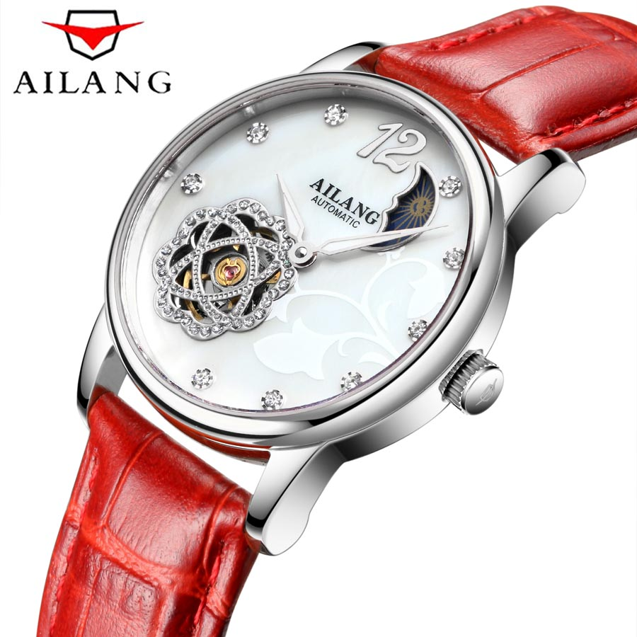 цены AILANG Watch women Automatic Waterproof Top Brand Mechanical Watches Leather strap Rose Gold Clocks Elegant Ladies Watch 2018
