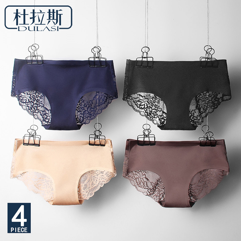 Sexy   Panties   Lace Women Underwear Seamless Silk Briefs Girls Ladies Underpants Satin Nylon Cotton Crotch DULASI Lingerie 4pcs