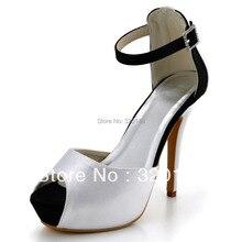 New Arrival Black and White Women's Pumps EP41059-IP Peep Toe Buckle Platform Stiletto Heel Satin Patchwork Wedding Shoes