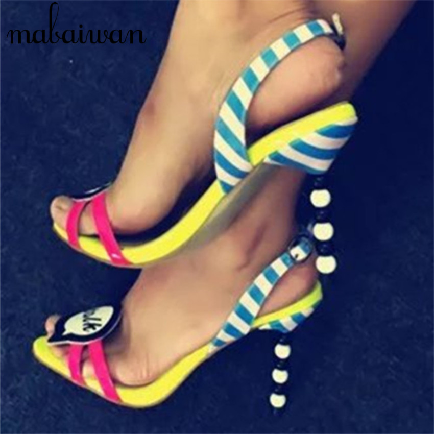 2017 Fashion Pearl Heel Summer Sandals Cute font b Girl b font Talk High Heels Women