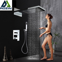 Chrome Waterfall Rain Shower Faucet Set Plastic Handshower Golden In Wall Shower Column 3 Ways Brass Mixer Valve Shower Tap