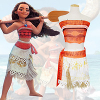 Princess Moana Cosplay Costume With Necklace For Children Adult For Halloween Party Dress Costume