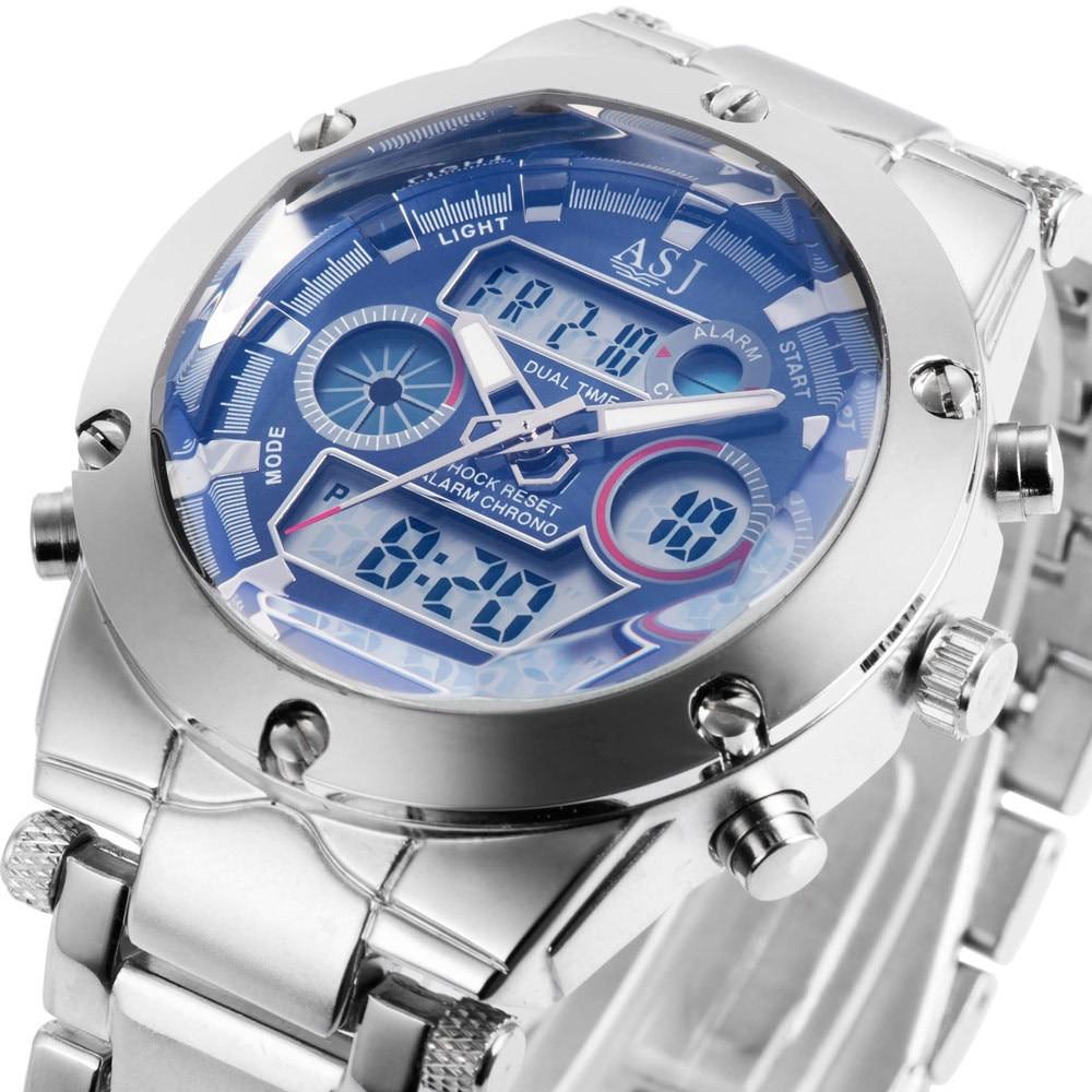 Permalink to Digital Watch ASJ Brand Fashion LCD Waterproof Clock Army Steel Strap Men Military Outdoor Sport digital-watch Relogio Masculino