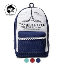Nouveau tour toile impression sac à dos sacs d'école pour les adolescentes mignon livre sacs des femmes de l'école sac à dos