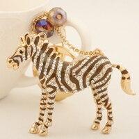 Long Pearl Crystal Horse Key Chains Ring Fashion Rhinestone Animal Metal Keychain Keyring For Women Gift