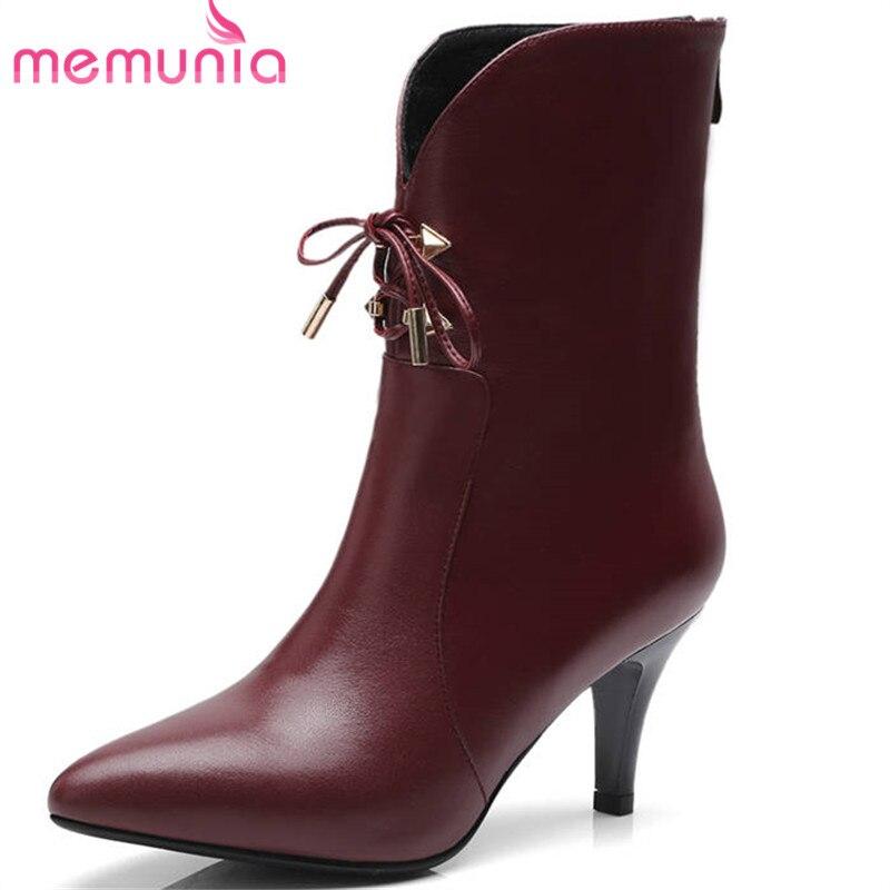 6a822bc9 De Cuero Memunia Punta Partido Zapatos blanco Mujeres Boda Botines wine  Sexy Red Nueva Otoño Negro Botas Genuino Aguja Estrecha Tacones 2018 Moda  gTXXrZI8