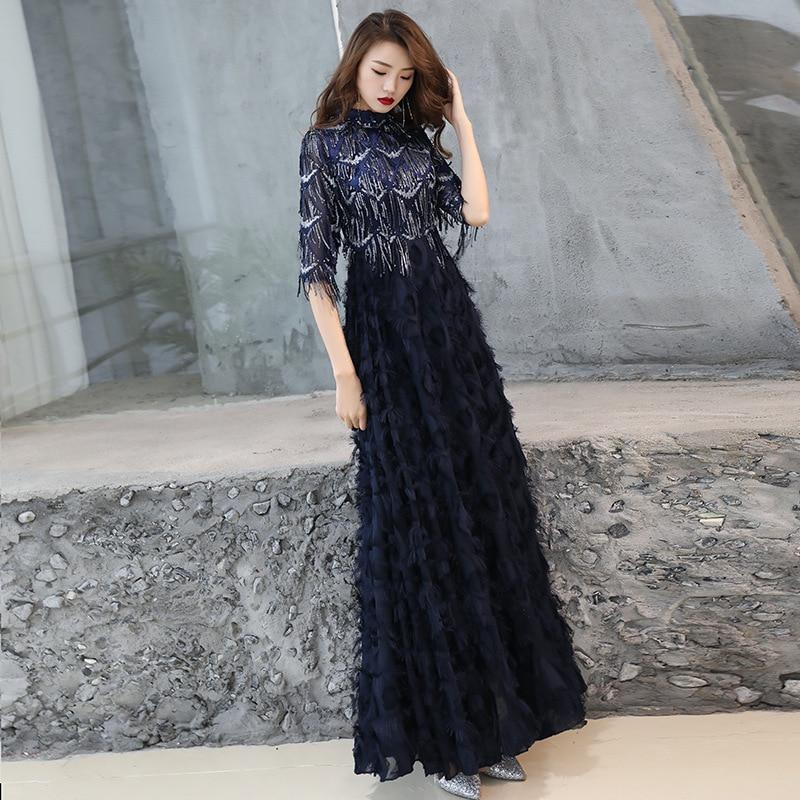 A-line   Evening     Dress   O-neck Sequins Tasssel Black Formal Prom   Dresses   Floor-length Half Sleeve Zipper Feathers Party Gowns E098
