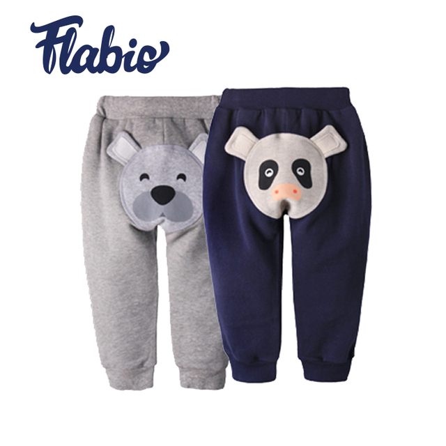 Autumn and winter new lovely animal pattern trousers knee protection children casual pants