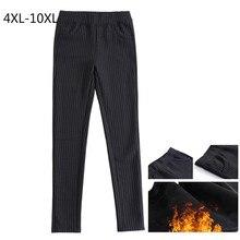 Plus Size 10XL 9XL 8XL 7XL 4XL Women Winter Velvet Warm Pants Elastic Waist Full Length Slim Pencil Pants OL Work Wear Trousers