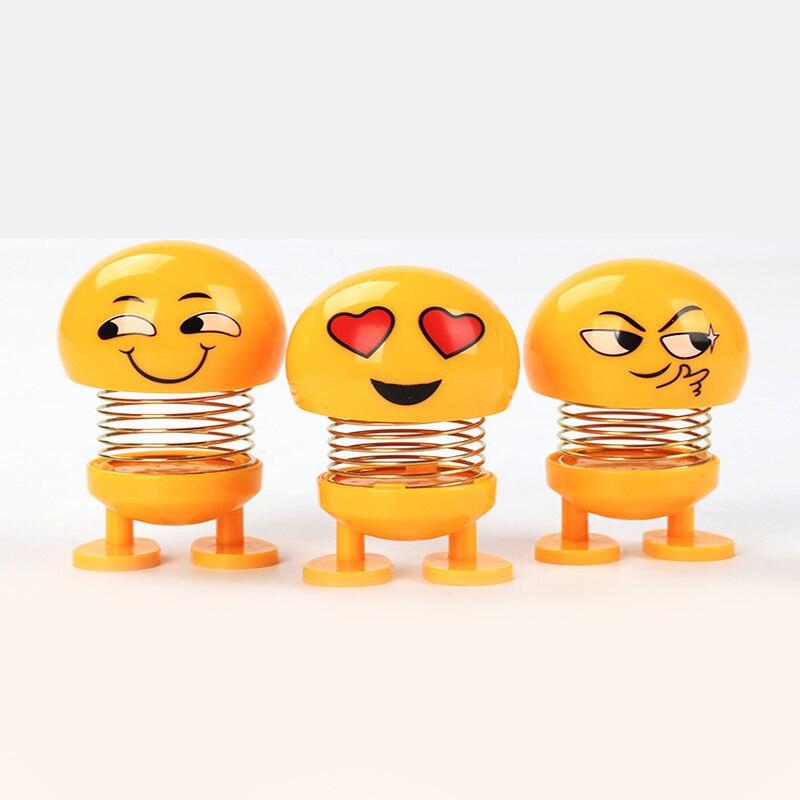 New Shaking Head Toy Car Accessories Doll Cute Cartoon Funny Expression Shaking Head Robot Cute Car Dashboard Decoration Car