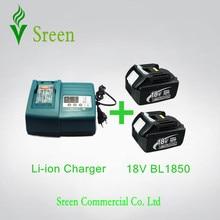 2 de Emergencia 5000 mAh de Iones de Litio Recargable con Cargador de Batería de La Herramienta Eléctrica de Reemplazo para Makita 18 V BL1830 BL1815 LXT400