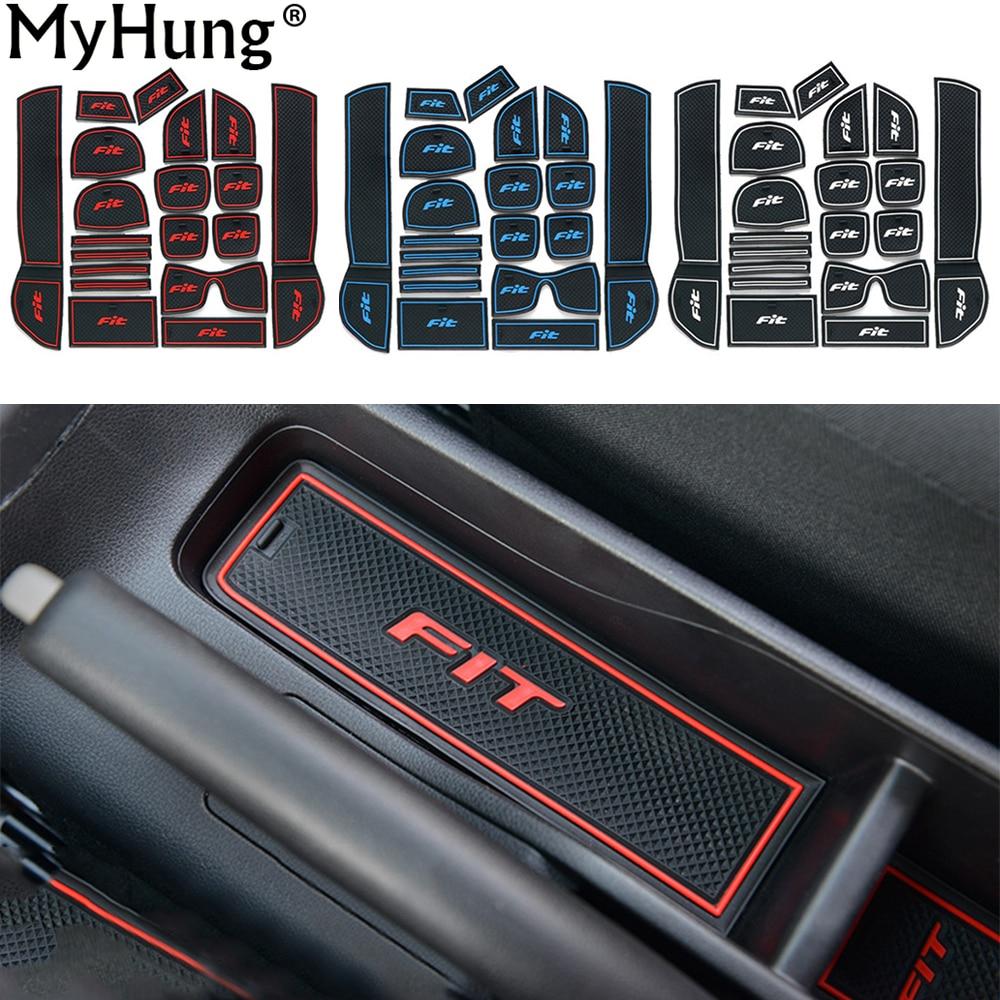 Fit for Honda Fit 2013 Car Anti Slip Car Door Slot Latex Groove Mat Interior Cup Cushion Auto Accessories 19pcs Per Set