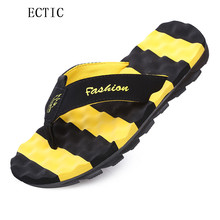 2017 Men Summer Sandals Yellow Bumble Bee Men Flip Flops Authentic Massage Anti-skidding Men's Beach Outdoor Flip Flops Shoes