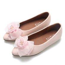 Children's flat shoes Butterfly-knot Shoes for girl Princess Pink Party Shoes Girls Bowknot Flats Point toe Kid Pearl Dance Shoe new girls shoes high quality japanned leather flats girls butterfly knot crystal decor hasp princess shoes sapato menina d108