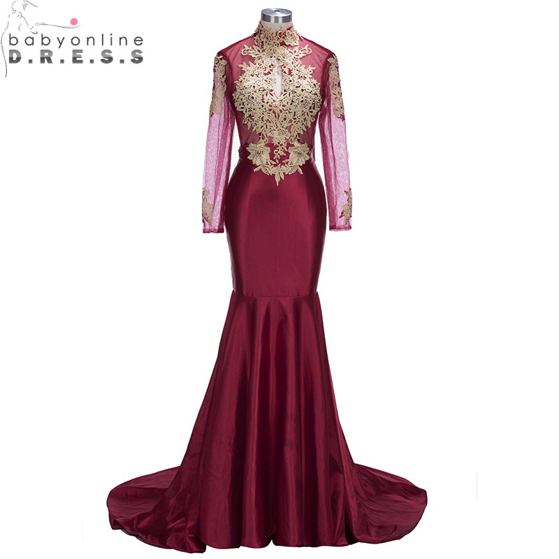 Charming Burgundy Long Sleeve Appliques Mermaid   Evening     Dress   Sexy High Neck Backless   Evening   Gowns vestido de festa longo