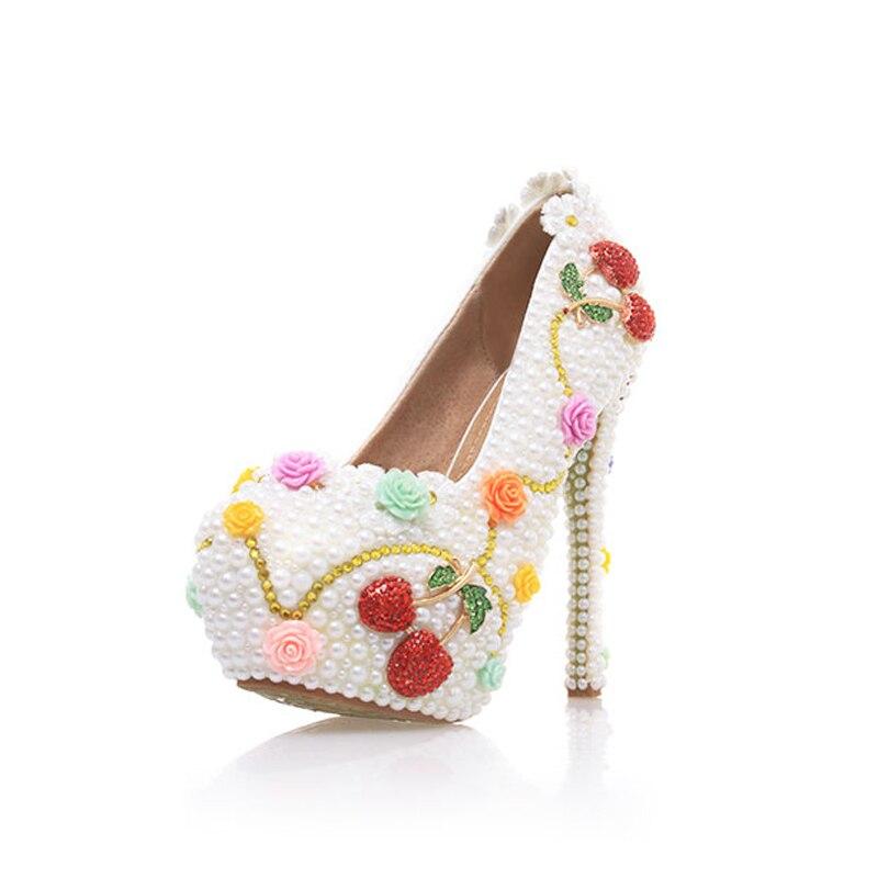 Con Prom Hermoso 10cm 12cm Heels Cinderella Cereza Tacones Evento Altos Vestido Perla 14cm Novia Blanco Boda white White Formal Zapatos Heels Bombas wBSHOrqIB