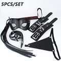 5 pcs PU Leather sex toys Handcuffs Whip Gag Erotic mask Thongs Fetish Sex Bondage set Restraint for Couples Adult Game roleplay