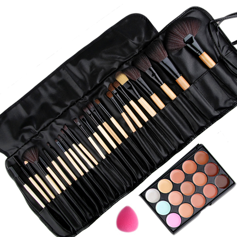 Pro 24pcs Makeup Brushes Set kits and 15 Colors Concealer Palette and Sponge Puff Good Quality Beauty makeup Essential necessary 15 color concealer platte 24pcs pro makeup cosmetic brushes sponge puff make up set 2017 new sale