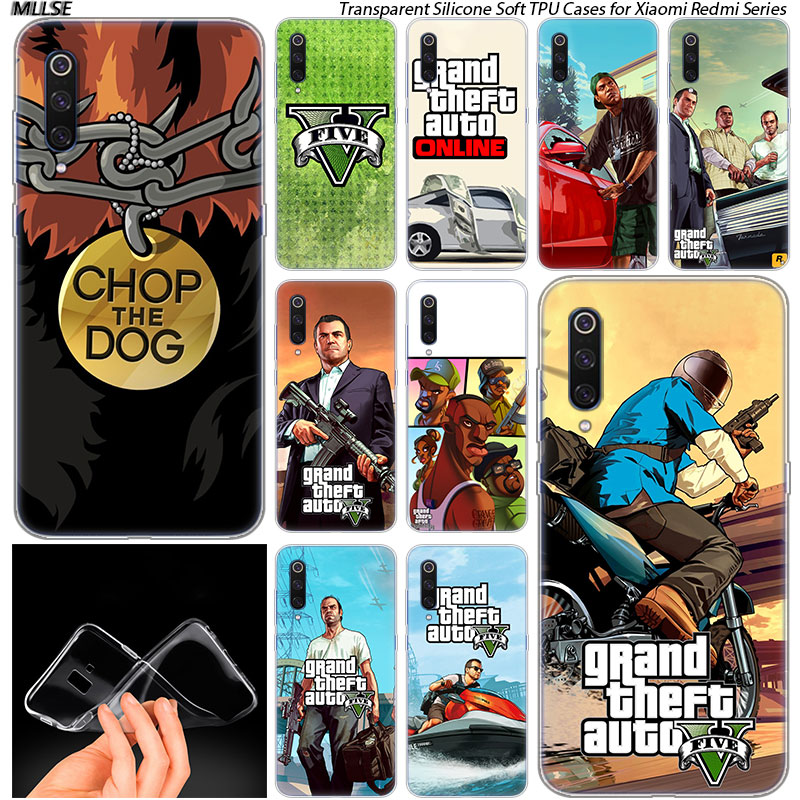 US $1 8 33% OFF|GTA 5 Game Soft Silicone Case for Xiaomi Pocophone F1 Mi 5X  A1 6X A2 8 SE Lite Play Mix3 9 9SE 9T Pro CC9 Fashion Cover-in Fitted