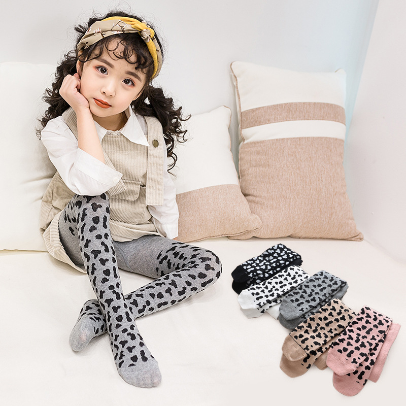 2019 New Girls Leopard Tights Girls Children Autumn/Winter Pantyhose Cotton Girls Kids Stockings Toddler Tights Kids Pantyhose