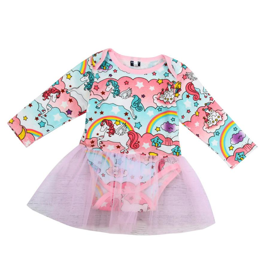 Girls Rompers Cartton Cotton Onepiece with Pink Tulle Full Sleeve Siamese Dress Clothing for Sweet Casual Kids 18Apr4