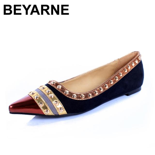 Rebites Decoração Sapatos de Marca Flats Mulheres Primavera Outono Moda Mulheres Flats Barco Sapatos Sexy Ladies Plus Size 11 Frete Grátis