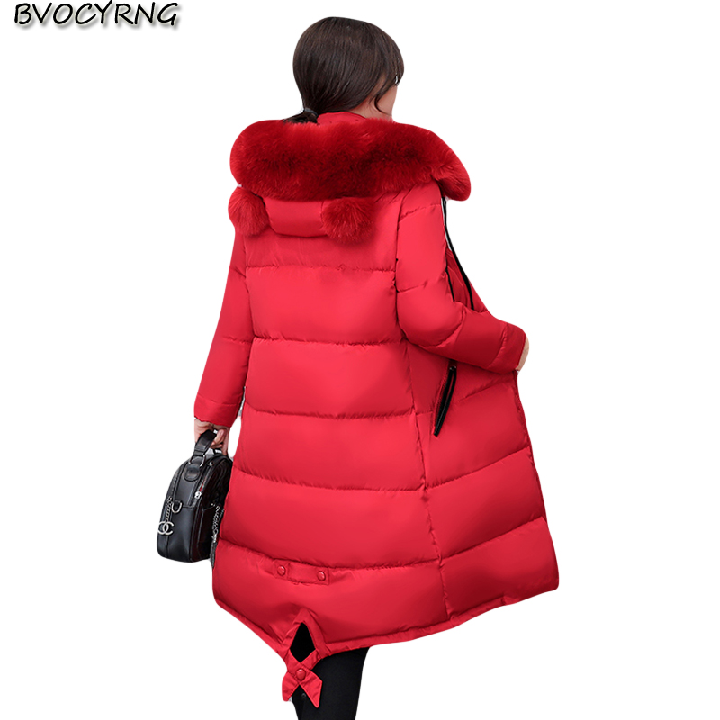 2017New Women Winter Eiderdown Cotton Thickening Coat Fashion Hooded Big Yards Elegant Temperament Warm Long Style Parka Q686 big yards for women s shoes in the fall and winter of 2016 high thickening bottom anti slip with warm confined new fashion shoes