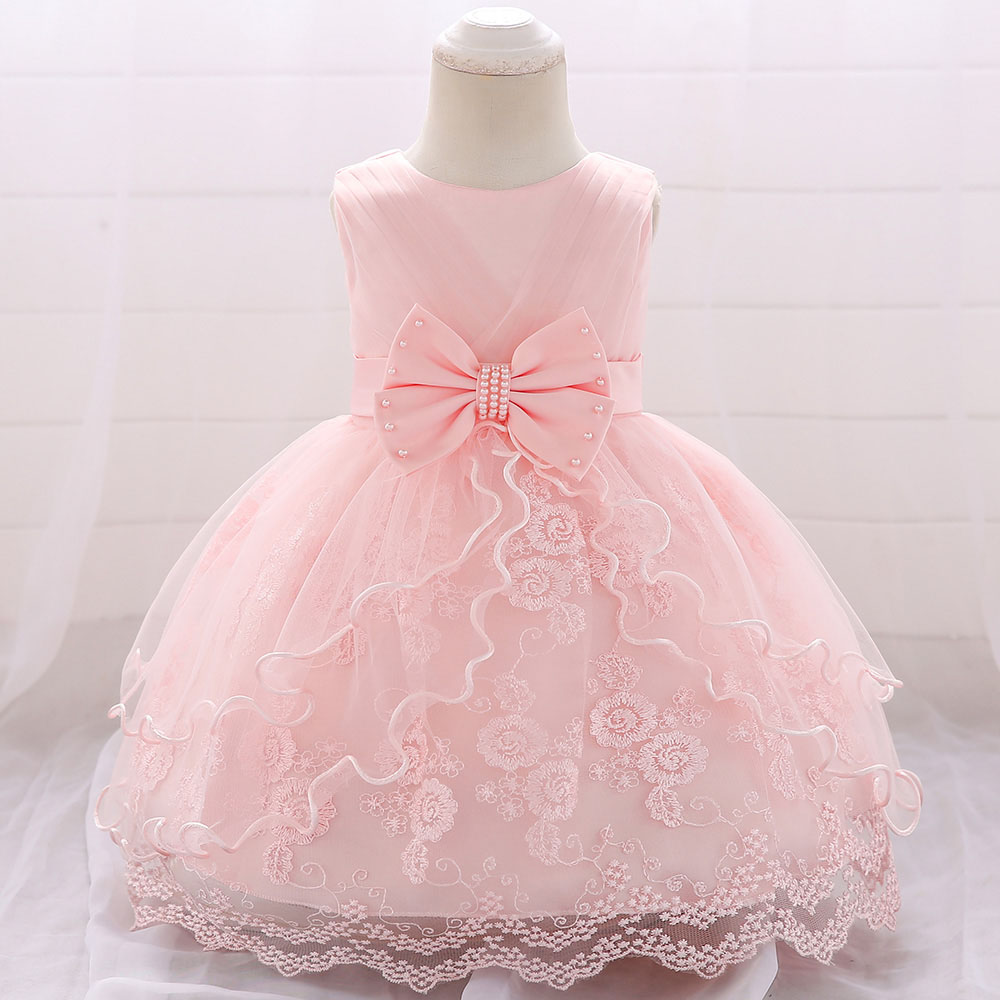 Newborn Baby Girl Dress Girl Baptism Dress With Bow Girl Infant Princess Lace Party Dress Baby Girl Clothes Summer Dress L1869xz(China)
