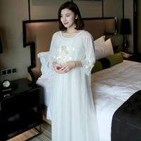 Autumn Summer White Silk Cotton 2 Pics Women's Long Nightgowns Elegant Sweet Princess Royal Loose Plus Size Sleepwear 5589