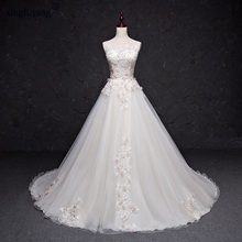 Real Photo A line Light Wedding Dresses Sleeveless Lace Appliqued Illusion Neckline Illusion light weight bridal gowns