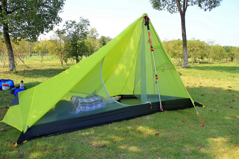 NEW 3F UL GEAR 650g Oudoor Ultralight Camping Tent 3 Season 1 Single Person Professional 15D Nylon Silicon Coating Rodless Tent