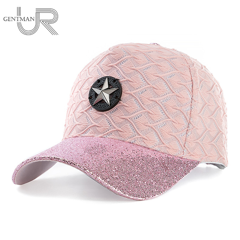New High Quality Women Five-pointed Baseball Cap Rayon And Cotton Material Hat Cap Summer Fashion Sequins Hat 100% cotton army baseball cap five pointed star embroidered flat top hat for men and women